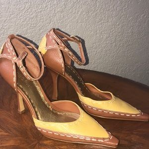 BCBGirls brown and yellow heels.